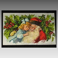 "Antique Embossed Postcard-Little Girl Hugging Santa with Holly & Berries in Background-""Merry Christmas Series 403""-Unused"