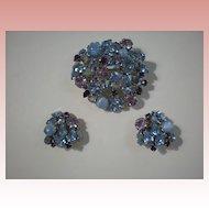 Bright Pastel Blues, Lavender & Purple Austria Demi Parure~Pin & Earrings