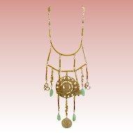 Goldette Asian Influence Faux Jade & Goldtone Necklace & Earrings