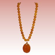 Vintage Marbled Butterscotch Bakelite Bead Necklace with Drop