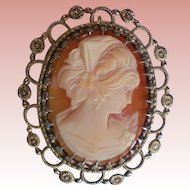Wells Sterling & Shell Cameo Brooch/Pendant with Vermeil Cannetille Bezel
