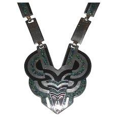 Margot De Taxco Mexico Sterling Silver Confetti Enamel Necklace #5414