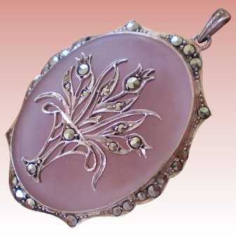 Lovely Sterling Marcasite Camphor Glass Pendant w/Flower Basket~Germany