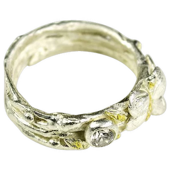 Fine silver, Cubic Zirconia, 22k Gold Accented Ring