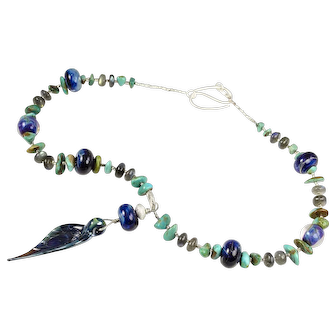Artisan Lampwork Glass, American Turquoise, Silver Necklace