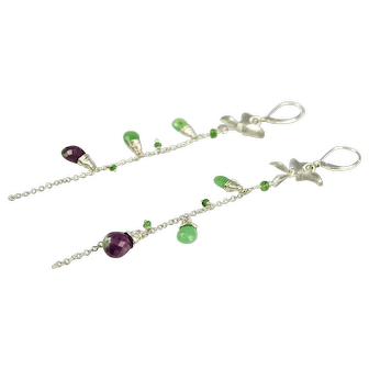Ruby Zoisite, Chrysoprase, Tsavorite, Sterling Silver earrings  Ask a Question
