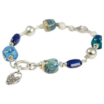 Lampwork glass, Kyanite, Silver Bracelet