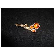 Vintage 14k Gold Amber Flower/Floral Pin