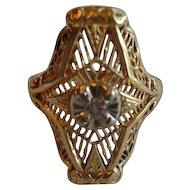 Vintage 14K Diamond Open Cut Filigree Cocktail Ring