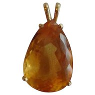 Lovely Pear Shaped Citrine Pendant set in 14k Gold 7.5 carat stone
