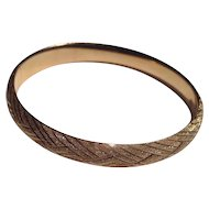14K Gold Bangle Bracelet Marked HOB Beautifully Etched