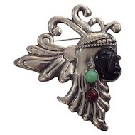 Sterling Silver 925 Mexico Mayan/Aztec Pin/Brooch Black Onyx
