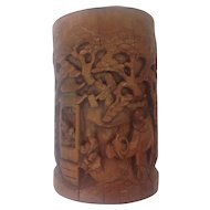Large Very Old Chinese Wood/Bamboo Brush Pot