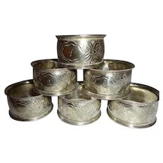 Set of 6 Numbered Victorian Silver Plated Napkin Rings 1-6