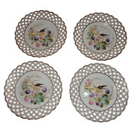 19th Century Set of 4 Hand Painted Carl Tielsch Reticulated Plates