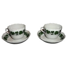 Pair (2) Meissen Full Green Vine/Ivy Demitasse Cups and Saucers