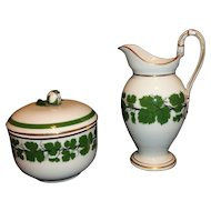Meissen Full Green Vine/Ivy Pattern Gooseneck Creamer & Covered Sugar