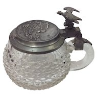 Ca 1900 Emil Kauffmann S.L. Paul Turbingen Beer Stein with Eagle Glass Pewter