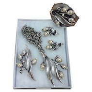 Tortolani Parure Set Pearls/Brushed Nickel Necklace Earrings Bracelet and Brooch