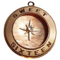 Vintage 14K Gold Sweet Sixteen Charm 3.7 grams