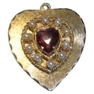 Vintage Very Large 14k Gold Heart Charm 8.5 grams