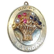 Very Large Vintage 14k gold Happy Birthday Charm with Basket of Flowers 8 grams