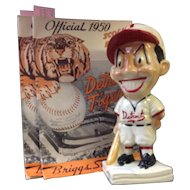 A Pottery 1940's Detroit Tigers baseball bank and 2 1950's score books