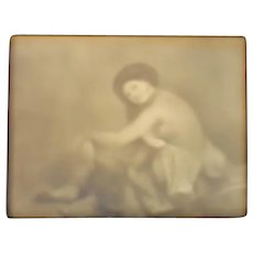 Lithophane Panel/Plaque of Semi Nude Woman marked PD in bottom right