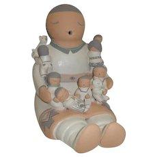 American Indian Stella Teller Large Storyteller Figurine 7 Children, 1 Cat, 1 Bear
