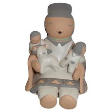 American Indian Stella Teller Storyteller Figurine 2 Children, 1 Lamb