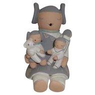 American Indian Stella Teller Storyteller Figurine 3 Children, 1 Bear