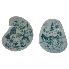 Pair of Nymolle Art Faience Hoyrup Made in Denmark Limited Edition Small Dishes