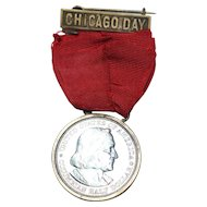 Worlds Columbian Expo 1892 Chicago Day Badge/Medal Half Dollar Red Ribbon