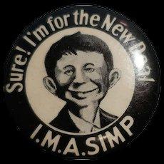 I.M.A. Simp Anti New Deal Pinback/Pin/Button Willkie FDR Cartoon Mad Magazine Super Rare
