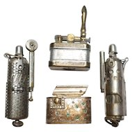 Lot of 4 Vintage/WWII Cigarette Lighters Trench Austria Regeliter Etched
