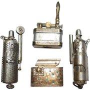 Lot of 4 Vintage/WWII Cigarette Lighters Trench Austria Regeliter Etched