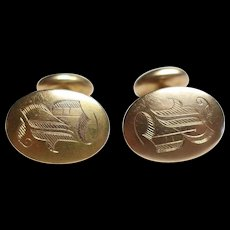 Pair of Vintage 14k Gold Cufflinks 9.7 grams Monogrammed B