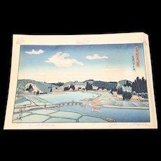 Gihachiro Okuyama Signed Woodblock Print Sun Set at Akaura