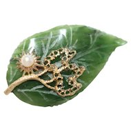 Vintage 14k Gold Jade Pearl Pin/Brooch 12.7 grams