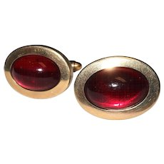Unmarked Red & Gold tone Vintage Men's Cufflinks