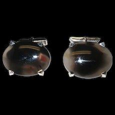 Sterling Silver Black Iridescent Stone Cufflinks