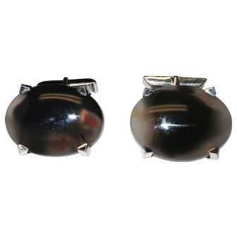 Sterling Silver Black Iridescent Stone Cufflinks