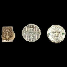 3 Vintage Sinclair 10, 15, 20 Service Recognition Pins 14k & 10k Gold