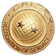 Vintage 14k Gold Caltex Recognition of Service Pin