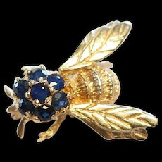 Vintage 14k Gold Sapphire Bee Pendant/Brooch