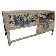 Industrial Primitive Metal Prison Work Bench/Tool /Cage Great for Kitchen Island