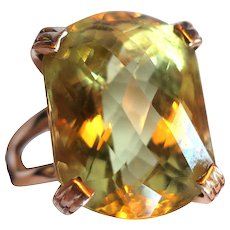 Vintage 14K Gold & Citrine Ring Marked LR 13.1 grams