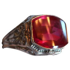 Vintage 14k LAF White Gold Ruby Men's Ring 5.1g Sz 10.5