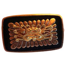 Vintage 18K Gold Black Pin/Brooch Aztec Mayan Inca Marked REG. IND 0892