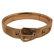 Edwardian Antique Cowen 14k gold belt buckle bangle bracelet 20.2 grams